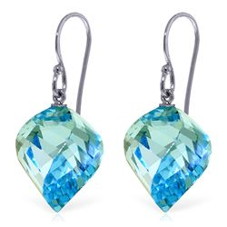 Genuine 27.8 ctw Blue Topaz Earrings Jewelry 14KT White Gold - REF-67K5V