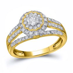 0.99 CTW Diamond Halo Bridal Engagement Ring 14KT Yellow Gold - REF-97N4F