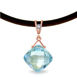 Genuine 8.76 ctw Blue Topaz & Diamond Necklace Jewelry 14KT Rose Gold - REF-30W6Y
