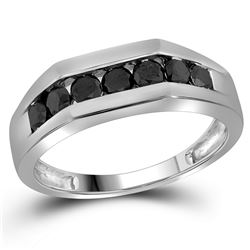 1 CTW Mens Black Color Diamond Wedding Ring 10KT White Gold - REF-30W2K