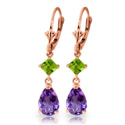 Genuine 4.5 ctw Amethyst & Peridot Earrings Jewelry 14KT Rose Gold - REF-41P4H