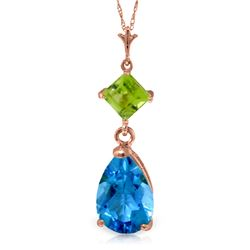 Genuine 2 ctw Blue Topaz & Peridot Necklace Jewelry 14KT Rose Gold - REF-24N3R