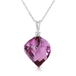 Genuine 10.80 ctw Amethyst & Diamond Necklace Jewelry 14KT White Gold - REF-29T3A