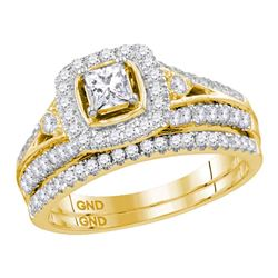 0.98 CTW Diamond Bridal Wedding Engagement Ring 14KT Yellow Gold - REF-142X4Y