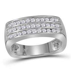 0.50 CTW Mens Diamond Triple Row Wedding Anniversary Ring 10KT White Gold - REF-49X5Y