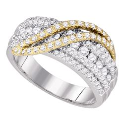 1 CTW Diamond Yellow-tone Crossover Ring 10KT White Gold - REF-94N5F