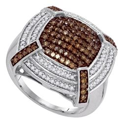 0.75 CTW Brown Color Diamond Square Cluster Ring 10KT White Gold - REF-52H4M