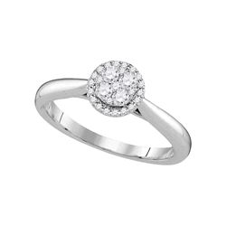 0.25 CTW Diamond Cluster Bridal Engagement Ring 14KT White Gold - REF-37F5N