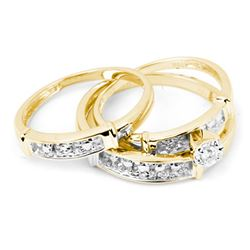 0.10 CTW His & Hers Diamond Solitaire Matching Bridal Ring 10KT Yellow Gold - REF-30F2N