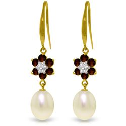 Genuine 9.01 ctw Garnet, Pearl & Diamond Earrings Jewelry 14KT Yellow Gold - REF-44R3P