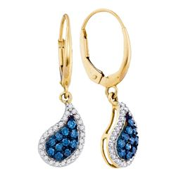 0.61 CTW Blue Color Diamond Teardrop Dangle Earrings 10KT Yellow Gold - REF-34Y4X