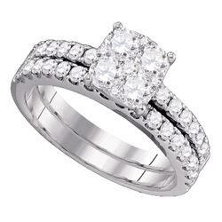 1.44 CTW Diamond Bridal Wedding Engagement Ring 18KT White Gold - REF-285N2F
