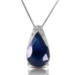 Genuine 4.65 ctw Sapphire Necklace Jewelry 14KT White Gold - REF-44F7Z