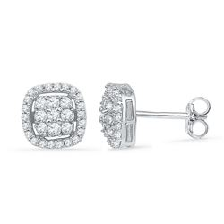 0.50 CTW Diamond Square Cluster Earrings 10KT White Gold - REF-34H4M