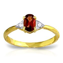 Genuine 0.46 ctw Garnet & Diamond Ring Jewelry 14KT Yellow Gold - REF-22F5Z
