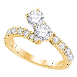 1.01 CTW Diamond 2-stone Bridal Wedding Engagement Ring 14KT Yellow Gold - REF-112Y5X