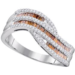 0.53 CTW Red Color Diamond Contour Ring 10KT Rose Gold - REF-52H4M