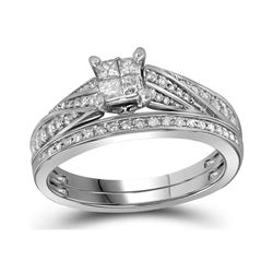 0.50 CTW Princess Diamond Bridal Engagement Ring 10KT White Gold - REF-59N9F