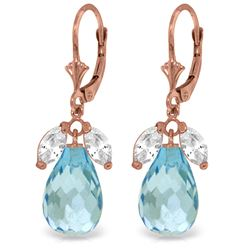 Genuine 14.4 ctw White Topaz & Blue Topaz Earrings Jewelry 14KT Rose Gold - REF-46V7W