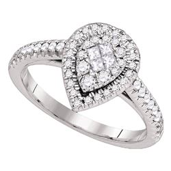 0.51 CTW Princess Diamond Cluster Bridal Engagement Ring 14KT White Gold - REF-71K9W