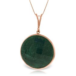 Genuine 23 ctw Green Sapphire Corundum Necklace Jewelry 14KT Rose Gold - REF-48A3K