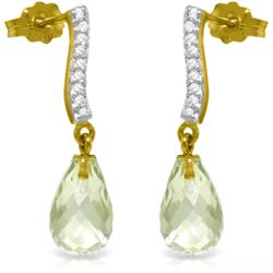 Genuine 4.78 ctw Green Amethyst & Diamond Earrings Jewelry 14KT Yellow Gold - REF-46F2Z