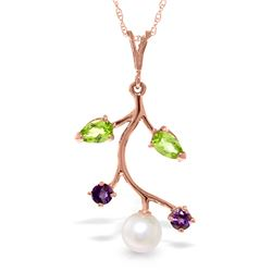 Genuine 2.7 ctw Peridot, Amethyst & Pearl Necklace Jewelry 14KT Rose Gold - REF-29Y7F