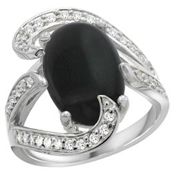 Natural 3.96 ctw onyx & Diamond Engagement Ring 14K White Gold - REF-132K8R