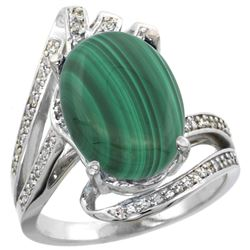 Natural 7.28 ctw malachite & Diamond Engagement Ring 14K White Gold - REF-86N7G