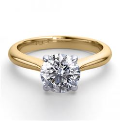 18K 2Tone Gold Jewelry 0.83 ctw Natural Diamond Solitaire Ring - REF#223W4K-WJ13249