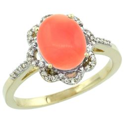 Natural 2.09 ctw Coral & Diamond Engagement Ring 10K Yellow Gold - REF-27R8Z