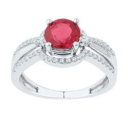 2.08 CTW Created Ruby Solitaire Ring 10KT White Gold - REF-33H8M