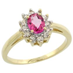 Natural 0.67 ctw Pink-topaz & Diamond Engagement Ring 10K Yellow Gold - REF-38A8V