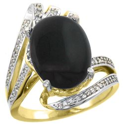 Natural 3.5 ctw onyx & Diamond Engagement Ring 14K Yellow Gold - REF-86F5N