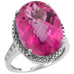 Natural 13.6 ctw Pink-topaz & Diamond Engagement Ring 10K White Gold - REF-59M2H