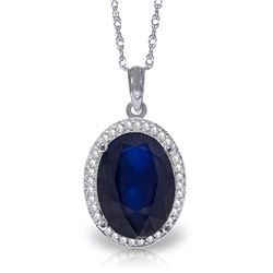 Genuine 6.58 ctw Sapphire & Diamond Necklace Jewelry 14KT White Gold - REF-103X5M