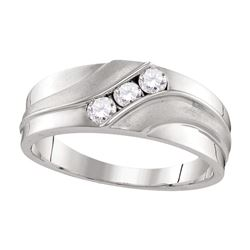 0.33 CTW Mens Diamond Wedding Ring 10KT White Gold - REF-41N3F