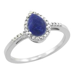 Natural 0.83 ctw lapis-lazuli & Diamond Engagement Ring 14K White Gold - REF-23K8R