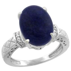 Natural 5.53 ctw Lapis & Diamond Engagement Ring 10K White Gold - REF-38M9H