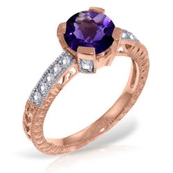 Genuine 1.80 ctw Amethyst & Diamond Ring Jewelry 14KT Rose Gold - REF-98R3P