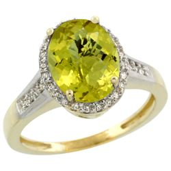 Natural 2.49 ctw Lemon-quartz & Diamond Engagement Ring 14K Yellow Gold - REF-41V2F