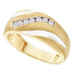 0.25 CTW Mens Diamond Single Row Brushed Wedding Ring 14KT Yellow Gold - REF-30Y2X