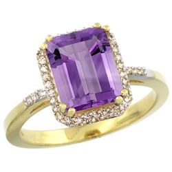 Natural 2.63 ctw amethyst & Diamond Engagement Ring 14K Yellow Gold - REF-42M8H