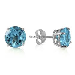 Genuine 3.1 ctw Blue Topaz Earrings Jewelry 14KT White Gold - REF-23R9P