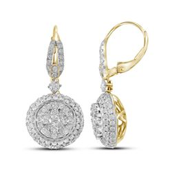 2.2 CTW Diamond Flower Cluster Dangle Leverback Earrings 14KT Yellow Gold - REF-244H4M