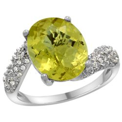 Natural 6.45 ctw lemon-quartz & Diamond Engagement Ring 14K White Gold - REF-52G2M