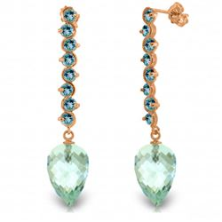 Genuine 25.6 ctw Blue Topaz Earrings Jewelry 14KT Rose Gold - REF-85Z6N