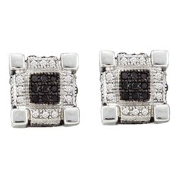 0.28 CTW Mens Diamond 3D Cube Square Cluster Stud Earrings 10KT White Gold - REF-26X9Y