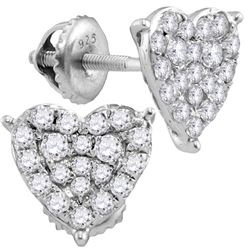 0.75 CTW Diamond Heart Stud Earrings 10KT White Gold - REF-49H5M