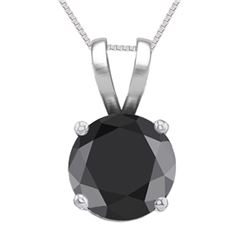 14K White Gold Jewelry 1.03 ct Black Diamond Solitaire Necklace - REF#61W8Z-WJ13290